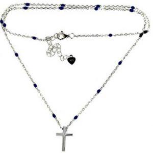 Κολιέ από ασήμι 925 Σταυρός σε αλυσίδα ροζάριο