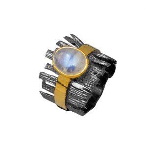 Χειροποίητο δίχρωμο δαχτυλίδι με φεγγαρόπετρα