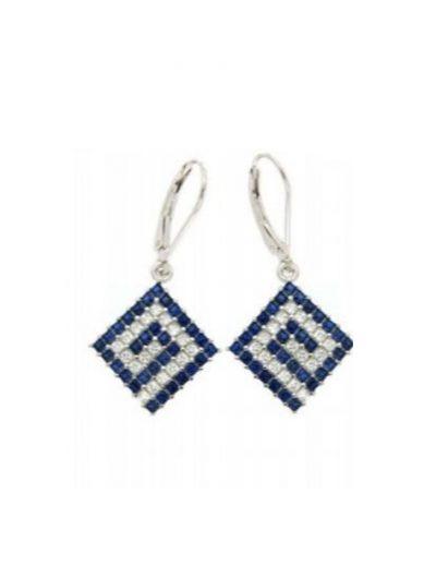Κρεμαστά σκουλαρίκια Μαίανδρος με λευκά και μπλε Ζιργκόν