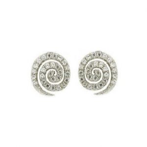 Καρφωτά σκουλαρίκια σπείρα με λευκά Ζιργκόν