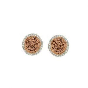 Ροζ επίχρυσα σκουλαρίκια δίσκος της Φαιστού με λευκά Ζιργκόν