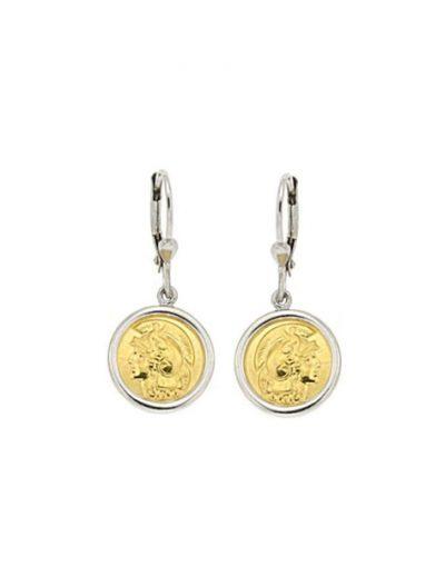 Κρεμαστά σκουλαρίκια με επίχρυσο νόμισμα Μ. Αλέξανδρος