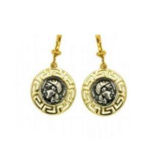 Επίχρυσα κρεμαστά σκουλαρίκια με νόμισμα Θεά Αθηνά
