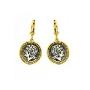 Κρεμαστά επίχρυσα σκουλαρίκια με νόμισμα Μ. Αλέξανδρος