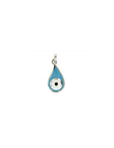 Μενταγιόν μάτι με σμάλτο μπλε τυρκουάζ