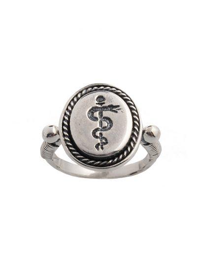 Δαχτυλίδι Ράβδος του Ασκληπιού από Ασήμι 925