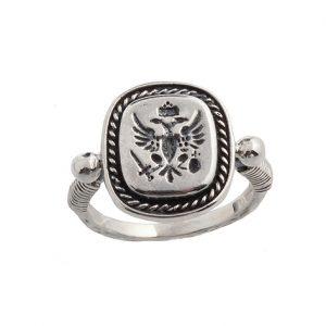 Δαχτυλίδι Δικέφαλος Αετός από Ασήμι 925