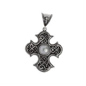Σταυρός από Ασήμι 925 με Πέτρα