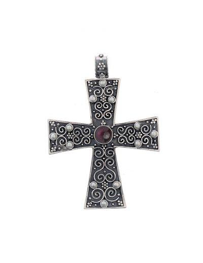 Σταυρός Μεγάλος απο Ασήμι 925 με Ημιπολύτιμες Πέτρες