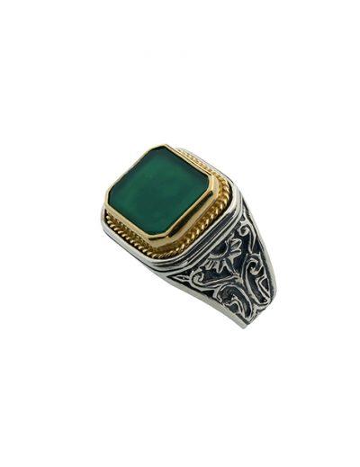 Δαχτυλίδι με Πέτρα από Ασήμι 925 με Επίχρυσα μέρη