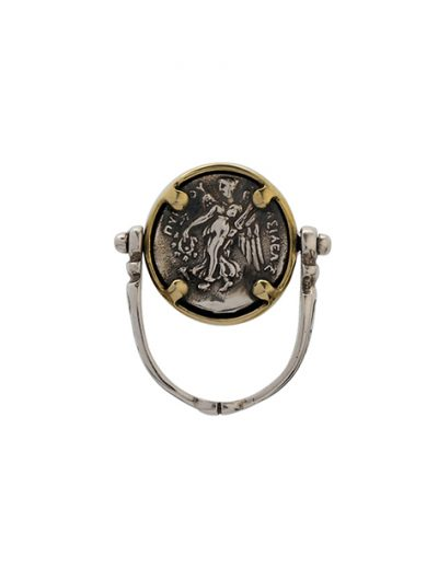 Περιστρεφόμενο Δαχτυλίδι με Νόμισμα από Ασήμι 925 & Μπρούτζο