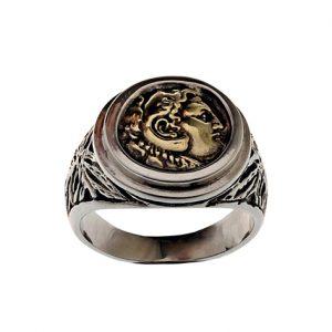 Δαχτυλίδι με Νόμισμα από Ασήμι 925 & Μπρούτζο