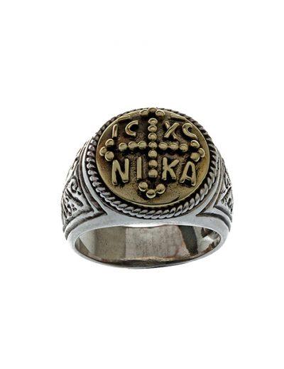Δαχτυλίδι IC XC NIKA από Ασήμι 925 & Μπρούτζο