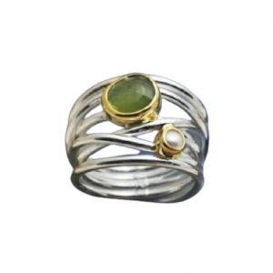 Ασημένιο Πολύβερο Δαχτυλίδι με Ημιπολύτιμες Πέτρες