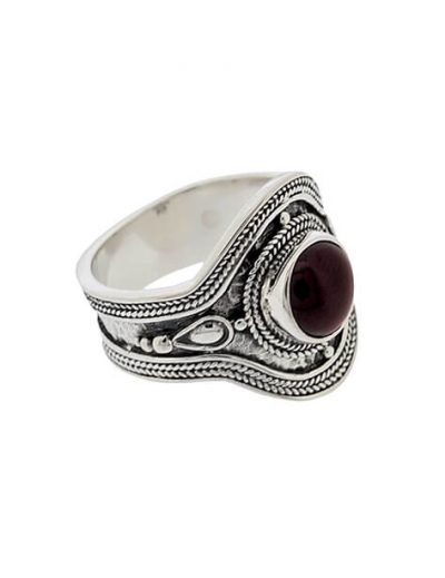 Δαχτυλίδι από Ασήμι 925 με πέτρα Γρανάδα Κόκκινη