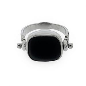 925 Sterling Silver Swivel Flip Ring with black Onyx Gemstone