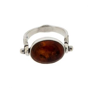 925 Sterling Silver Swivel Flip Ring with Amber