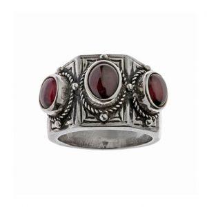 Δαχτυλίδι από Ασήμι 925 με Γρανάδα Κόκκινη