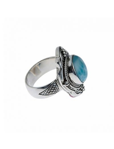925 Sterling Silver Ring with Larimar Gemstone