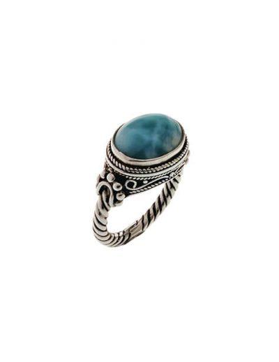 Δαχτυλίδι από Ασήμι 925 με Λάριμαρ