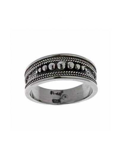Δαχτυλίδι από Ασήμι 925 με Κοκκιδωτή Διακόσμηση