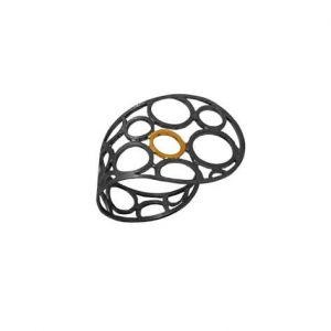 Χειροποίητο επίχρυσο δαχτυλίδι Ασύμμετροι Κύκλοι με μαύρη ροδίωση