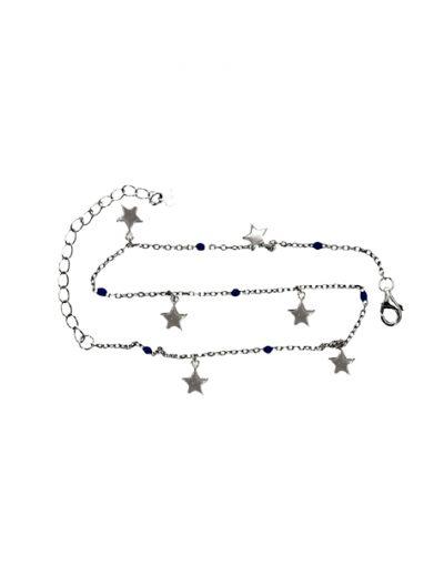 Ασημένια επίχρυση αλυσίδα ποδιού με κρεμαστά αστέρια