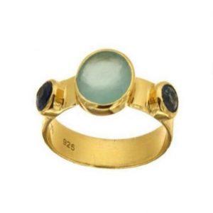 Ασημένιο Δαχτυλίδι με Ημιπολύτιμες Πέτρες
