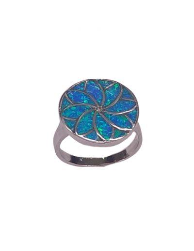 Ασημένιο δαχτυλίδι με μπλε οπάλ
