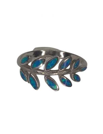Ασημένιο δαχτυλίδι Φύλλο ελιάς με Οπάλιο
