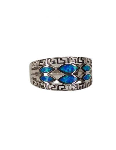 Ασημένιο δαχτυλίδι Μαιάνδρου με μπλε οπάλ