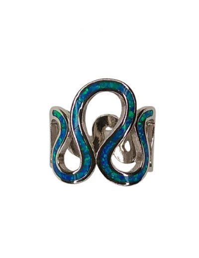 Κυματιστό δαχτυλίδι με μπλε Οπάλ