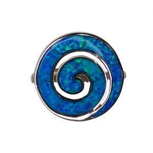Δαχτυλίδι σπείρα με μπλε οπάλ