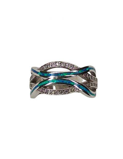 Δαχτυλίδι ασημένιο με μπλε Οπάλ & Ζιργκόν