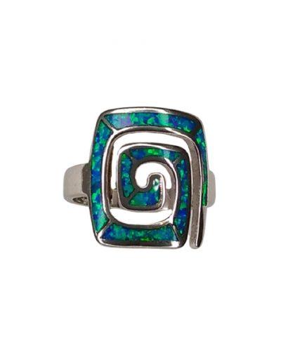 Δαχτυλίδι με μεγάλο Μαίανδρο και μπλε Οπάλ