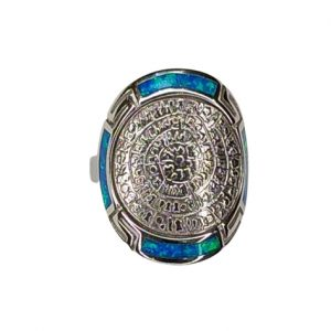 Δαχτυλίδι ασημένιο με μπλε οπάλ και δίσκο Φαιστού