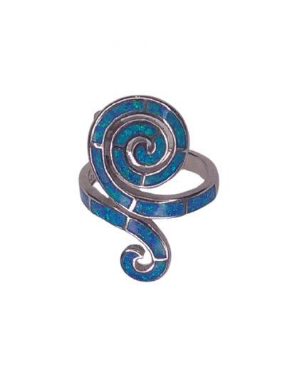 Ασημένιο Δαχτυλίδι σπείρα και οπάλιο