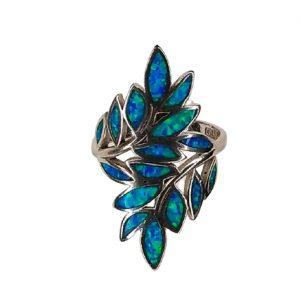 Δαχτυλίδι με κλαδί ελιάς & μπλε Οπάλ