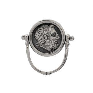 Περιστρεφόμενο Δαχτυλίδι με Νόμισμα από Ασήμι 925