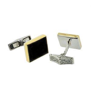 Μανικετόκουμπα από Ασήμι 925 & Χρυσό Κ22 με Ημιπολύτιμες Πέτρες