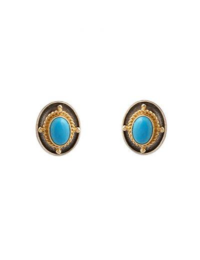 Σκουλαρίκια με Πέτρα από Ασήμι 925 με Επίχρυσα μέρη