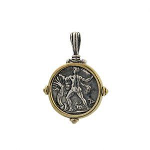 Μενταγιόν με Νόμισμα από Ασήμι 925 & Μπρούτζο