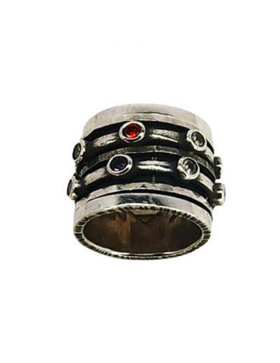Χειροποίητο ασημένιο Δαχτυλίδι με Περιστρεφόμενα Μέρη και Ζιργκόν
