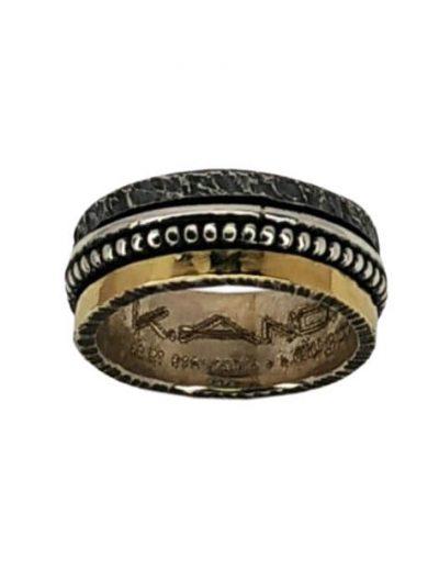 Χειροποίητο ασημένιο Δαχτυλίδι με χρυσό Κ18 και Περιστρεφόμενα Μέρη