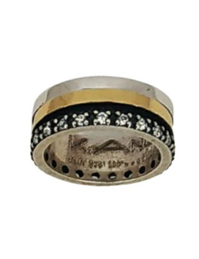 Χειροποίητο Δαχτυλίδι με Περιστρεφόμενα χρυσά Κ18 Μέρη και Ζιργκόν