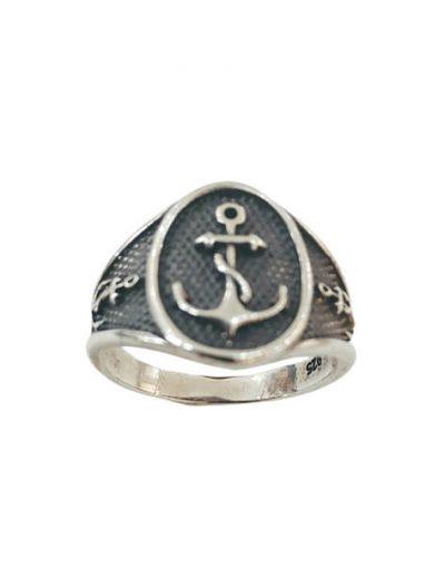 Ασημένιο Ανδρικό Δαχτυλίδι με Άγκυρα