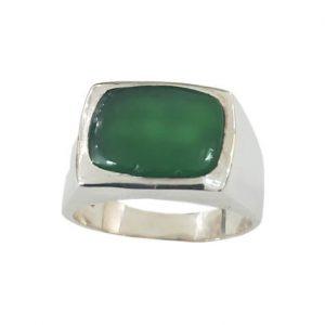 Ασημένιο Ανδρικό Δαχτυλίδι με πράσινο Όνυχα