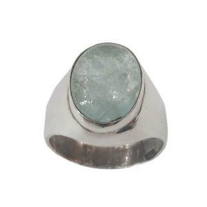 Ασημένιο Ανδρικό Δαχτυλίδι με οβάλ πέτρα Ακουαμαρίνα