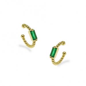 Ασημένια Επίχρυσα Σκουλαρίκια Κρίκος (Ear Cuffs) με Πράσινο Ζιργκόν