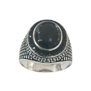 Ασημένιο Ανδρικό Δαχτυλίδι με μαύρο Όνυχα και Ζιργκόν